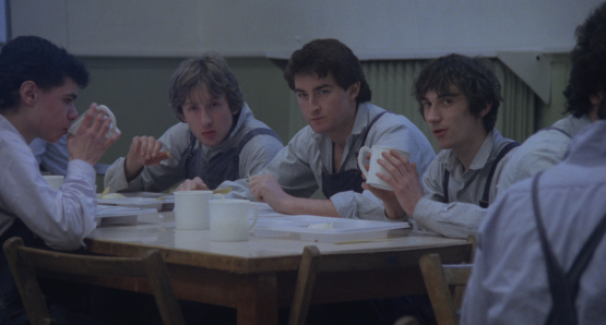 John Blundell (center) as the cruel Pongo, with Ray Burdis (Eckersley) and Phil Daniels (Richards) in Alan Clarke's SCUM