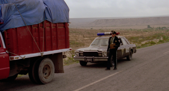 Roberto Sosa in the title role of Alex Cox's HIGHWAY PATROLMAN.